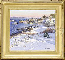 THOMAS NICHOLAS (American, 1963-) A MONHEGAN WINTER.