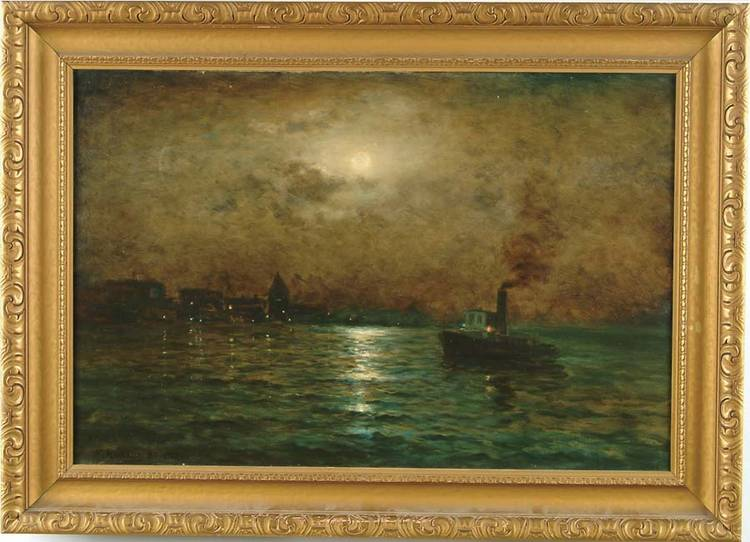 NELS HAGERUP (American, 1864-1922) MOONLIGHT OVER SAN FRANCISCO HARBOR