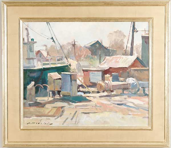 CHARLES MOVALLI (American, 1945-) THE BOATYARD. Colorful oil on canvas shows boat tied to edge of dock with buildings. Signed lower left. Housed in a fine carved wood gilt frame. SIZE: 20