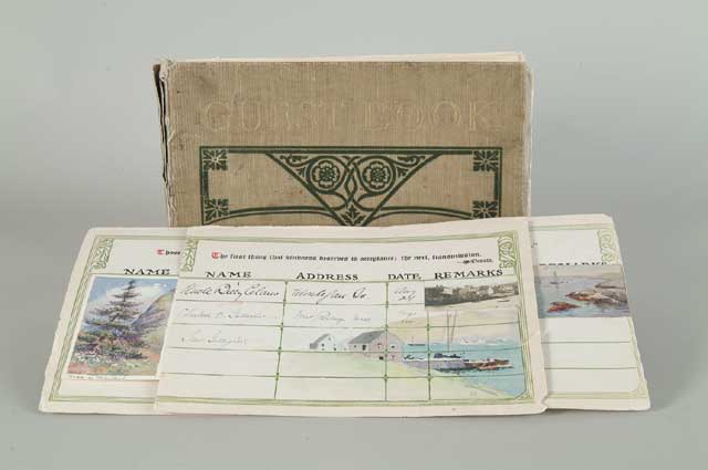 OUTSTANDING AND RARE MONHEGAN HOTEL GUEST BOOK WITH ORIGINAL ART.