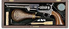 EXTREMELY RARE CASED COLT 2ND MODEL 1851 NAVY PERCUSSION REVOLVER.
