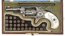 VERY RARE CASED ENGRAVED COLT 1ST MODEL NEW LINE 32 SPUR TRIGGER REVOLVER.