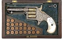 VERY RARE CASED ENGRAVED COLT CLOVERLEAF HOUSE PISTOL.