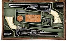EXTREMELY RARE CASED BRACE OF THUER CONVERSION 1861 NAVY REVOLVERS.
