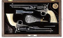 EXTRAORDINARY CASED BRACE OF COLT MODEL 1860 FLUTED ARMY PERCUSSION REVOLVERS THAT BELONGED TO SPANISH GENERAL DON CARLOS GARCIA TASSARA.