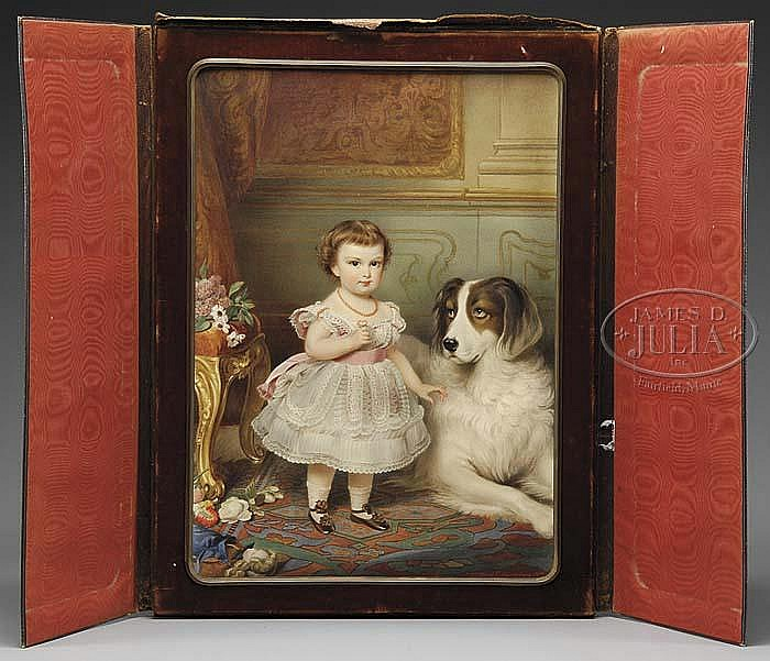 MICHAEL STOHL (Austrian, 1813-1881 & FRANZ SCHROTZBERG (Austrian, 1811-1889) PORTRAIT OF A LITTLE GIRL & HER DOG.