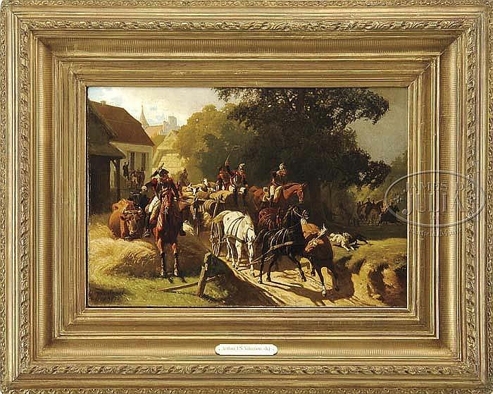 ARTHUR JOHANN A SEVERIN NIKUTOWSKI (German, 1830 - 1888) THE SUPPLY TRAIN.