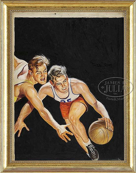 RAPHAEL DE SOTO (American, 1904-1987) BASKETBALL ILLUSTRATION.