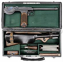 SUPERB EARLY DWM BORCHARDT MODEL 1893 SEMI-AUTO PISTOL IN ORIGINAL CASE WITH FULL ACCESSORIES AND FOUR MATCHING MAGAZINES.