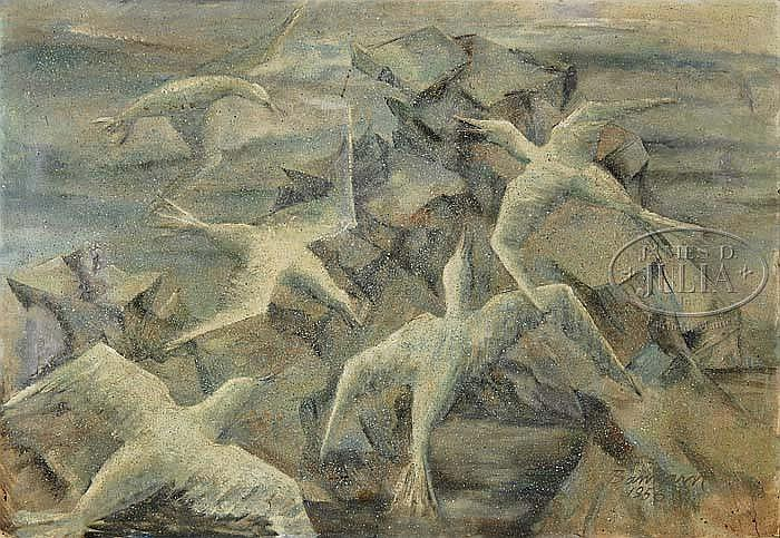 HENRY WILMER BANNARN (American, 1910-1965) GULLS AND ROCKS.