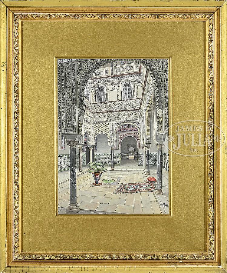 F. LIGER HIDALGO (19th/20th Century) INTERIOR OF ALCAZAR, SEVILLE