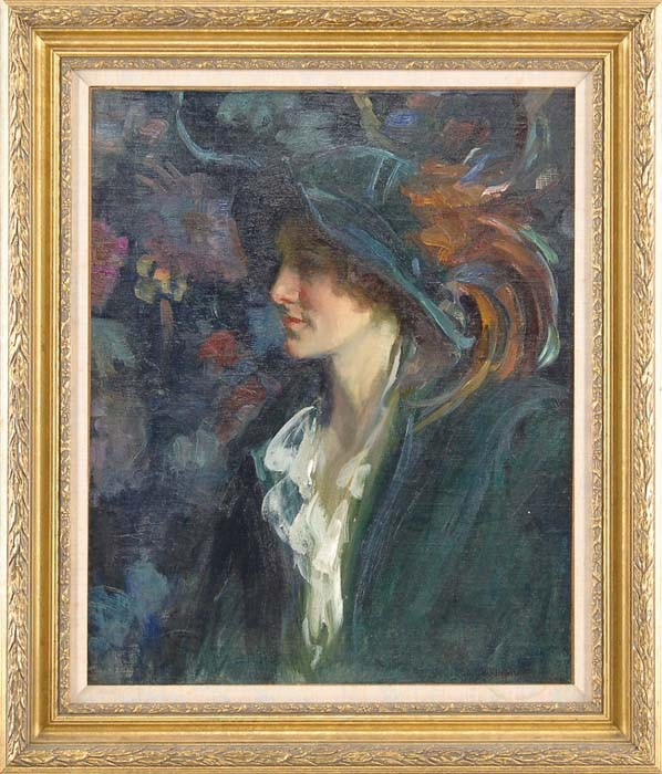 HOWARD LOGAN HILDEBRANDT (American, 1872-1958) PORTRAIT OF A LADY WITH A PLUMED HAT
