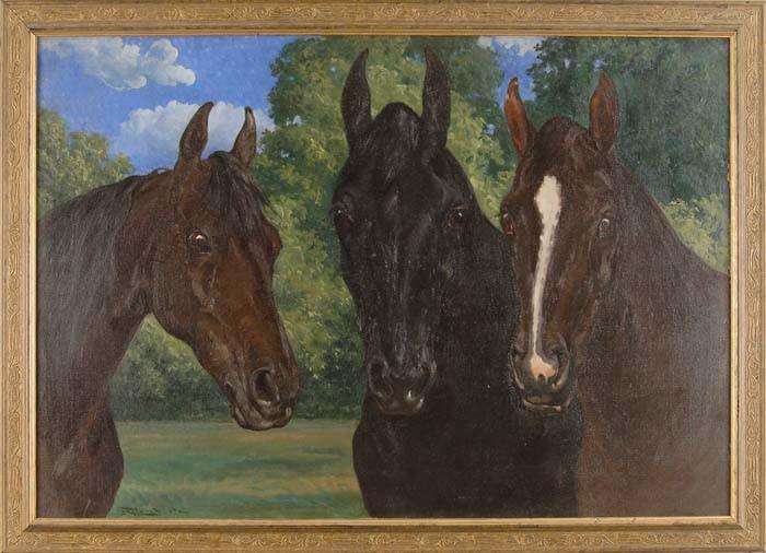 FREDERICK MORTIMER LAMB (American, 1861-1936) THREE HORSES