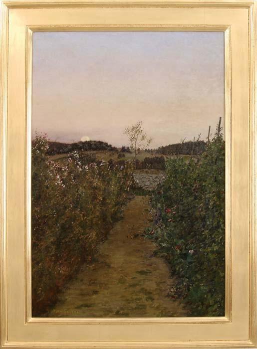 BEN FOSTER (American, 1852-1926) MOONRISE OVER BACKYARD GARDEN