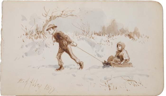 EDWIN AUSTIN ABBEY (American, 1852-1911) THE SLEDDING TRIP