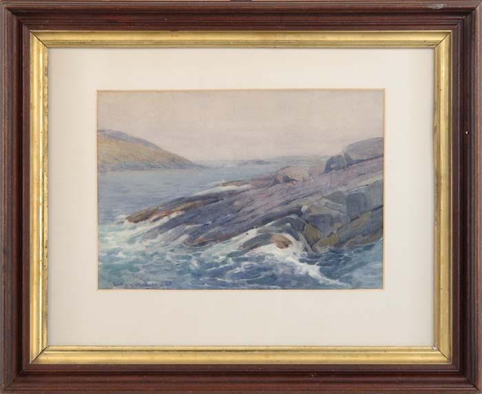 SEARS GALLAGHER (American, 1869-1955) MOORED OFF ROCKS