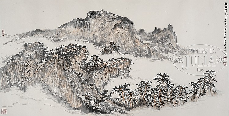 SCROLL LANDSCAPE PAINTING BY HONG BO.