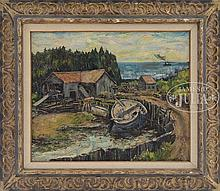 ANDREW WINTER (American, 1893-1958) SAWMILL, MONHEGAN MAINE.