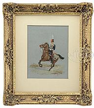 SCHOOL OF RICHARD SIMKIN (English, 1840-1926) PORTRAIT OF A ROYAL HORSE ARTILLERY MOUNTED OFFICER.