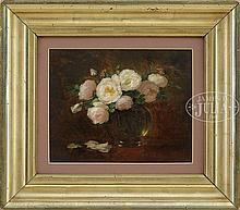 ANNA ELIZA HARDY (American, 1839-1934) TWO FLORAL STILL LIFES OF ROSES.