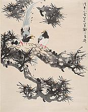 STYLE OF TANG YUN (Chinese, 1910-1993) TWO BIRDS ON PINE.