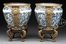 LARGE PAIR OF BLUE AND WHITE PORCELAIN PLANTERS.