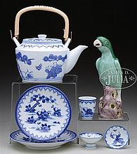 LOT OF BLUE AND WHITE PORCELAIN TOGETHER WITH A PARROT AND SIX COVERED PORCELAIN JARS.