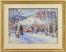 JOHN WHORF (American, 1903-1959) BIRCHES IN WINTER, WHITE RIVER JUNCTION, VT.