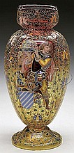 MOSER DECORATED AMBERINA VASE.