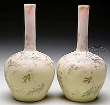PAIR OF MT. WASHINGTON BURMESE VASES.