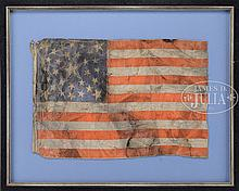 RARE 30-STAR MEDALLION AMERICAN FLAG WITH LARGE CENTRAL HALOED STAR, COMMEMORATING WISCONSIN, 1848-1851.