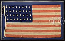 EXTREMELY RARE 32-STAR AMERICAN FLAG COMMEMORATING MINNESOTA, 1858-1859.