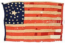 WHIMSICAL CIVIL WAR HOMEMADE FLAG WITH 33-STAR AND 35-STAR CANTONS.