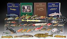LIFETIME MIDWEST COLLECTION OF 45 PAINTED & CARVED WOOD FISH DECOYS.