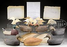 INTERESTING DECOY LOT INCLUDING PATTERNS, FINISHED & UNFINISHED DECOYS BY J BARKER OF WANAKENA, NY.