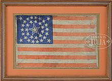 LARGE HALOED STAR, DOUBLE WREATH CIVIL WAR 34-STAR AMERICAN FLAG COMMEMORATING KANSAS, 1861-1863.