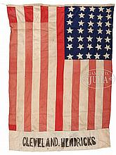 RARE GROVER CLEVELAND PRESIDENTIAL CAMPAIGN FLAG OF 1884 USING CIVIL WAR 35-STAR FLAG.