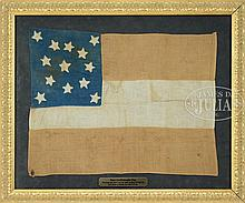 FINE AND RARE ARCHIVALLY FRAMED 13-STAR CONFEDERATE FIRST NATIONAL FLAG, TAKEN AS WAR TROPHY BY MAINE SOLDIER, RARE SMALL COMPANY SIZE.