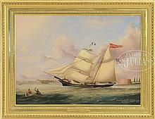 """J.B. SMITH & SON (American, 1798-1876) PORTRAIT OF THE BRIG """"YOUNG REPUBLIC, T.L. LIBBY COMD. NEW YORK, SEPTEMBER 3, 1859""""."""