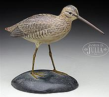 LIFE-SIZED DECORATIVE JACK SNIPE WITH DROPPED WINGS, BY A.E. CROWELL, EAST HARWICH, MA.