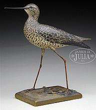VERY RARE DECORATIVE AND EARLY YELLOWLEG WITH DROPPED AND CARVED WINGS BY A.E. CROWELL, EAST HARWICH, MA.