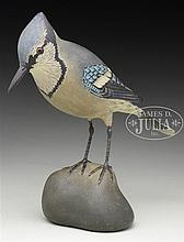 LIFE-SIZE DECORATIVE CARVED BLUE JAY BY A. ELMER CROWELL.