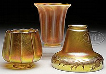 THREE ART GLASS SHADES.