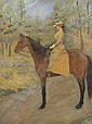 OIL ON CANVAS PORTRAIT OF MARY CHASE ON HORSEBACK POSSIBLY BY ALEXANDER POPE., Alexander (1763) Pope, Click for value