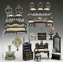 GROUPING OF BIEDERMEIER FURNITURE AND ACCESSORIES.