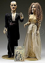 AMERICAN FOLK ART FIGURES OF MANDRAKE THE MAGICIAN AND HIS ASSISTANT.