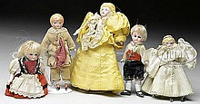 GROUPING OF 5 DOLLHOUSE DOLLS.