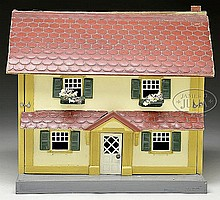 MID-SIZE HALF SCALE SCHOENHUT HOUSE WITH FURNITURE.