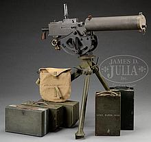 EXTREMELY DESIRABLE ALL ORIGINAL NEW ENGLAND WESTINGHOUSE BROWNING MODEL 1917 MACHINE GUN ON TRIPOD WITH ACCESSORIES (CURIO & RELIC).