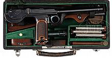 EXCEPTIONALLY FINE 1893 BORCHARDT SERIAL NUMBER 463 CASED WITH FOUR MATCHING MAGAZINES AND ALL ACCESSORIES.